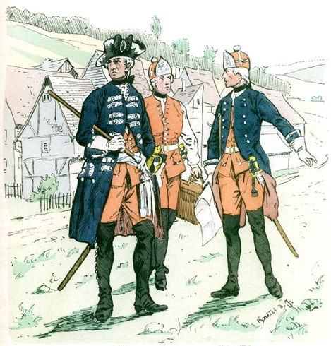 Miners in 1758 – From left to right: an officer, a miner in waistcoat and a NCO - Source: Knötel