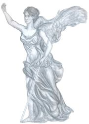 A drawing of a winged Nike similar to the one held by Athena Parthenos in her right hand - Source: Sophie Maheux