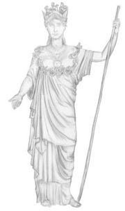 Drawing representing the bronze statue of Athena Hygieia made by Pyrrhos, an Athenian sculptor of the school of Pheidias. Source: Sophie Maheux